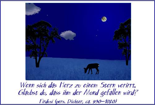 Wenn sich das Herz zu einem Stern verirrt, glaubst du, dass ihm der Mond gefallen wird?